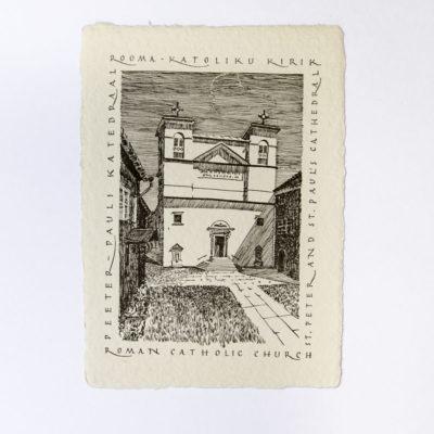 letterpress handmade paper postcard