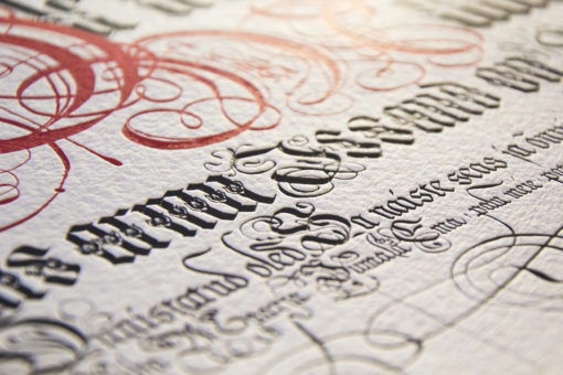 letterpress printed calligraphy hail mary in estonian